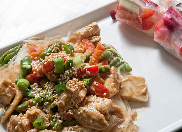 Asian Chicken Salad with Asparagus and Red Peppers