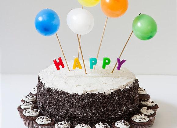 Birthday Cake with Mini Cupcakes