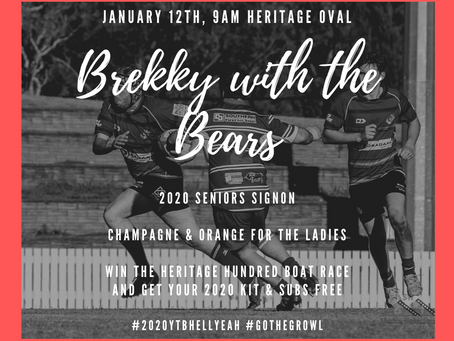 Brekky With The Bears - Jan 12th 9am