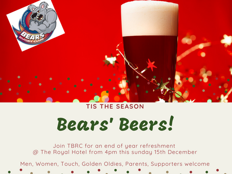 Bears' Beers this sunday 15th December @ The Royal from 4pm