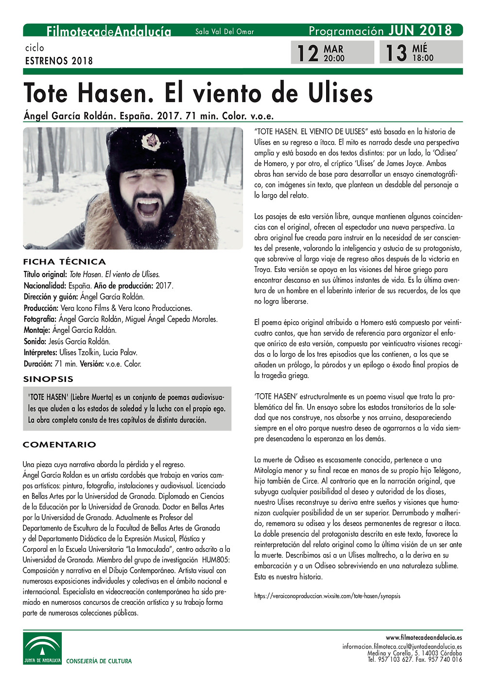 Ficha técnia de la Filmoteca de Andalucía