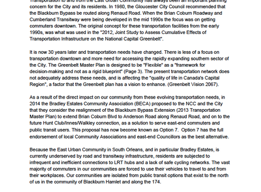 Email/Letter to NCC Regarding Cumberland Transitway/Brian Coburn Extension Option 7