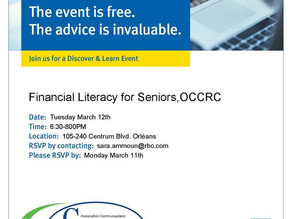 Financial Literacy for Seniors Advice hosted by Convent Glen - Orleans Wood C.A.