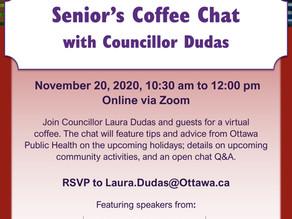 Senior's Coffee Chat with Councillor Dudas / Le café des seniors avec la conseillère Dudas