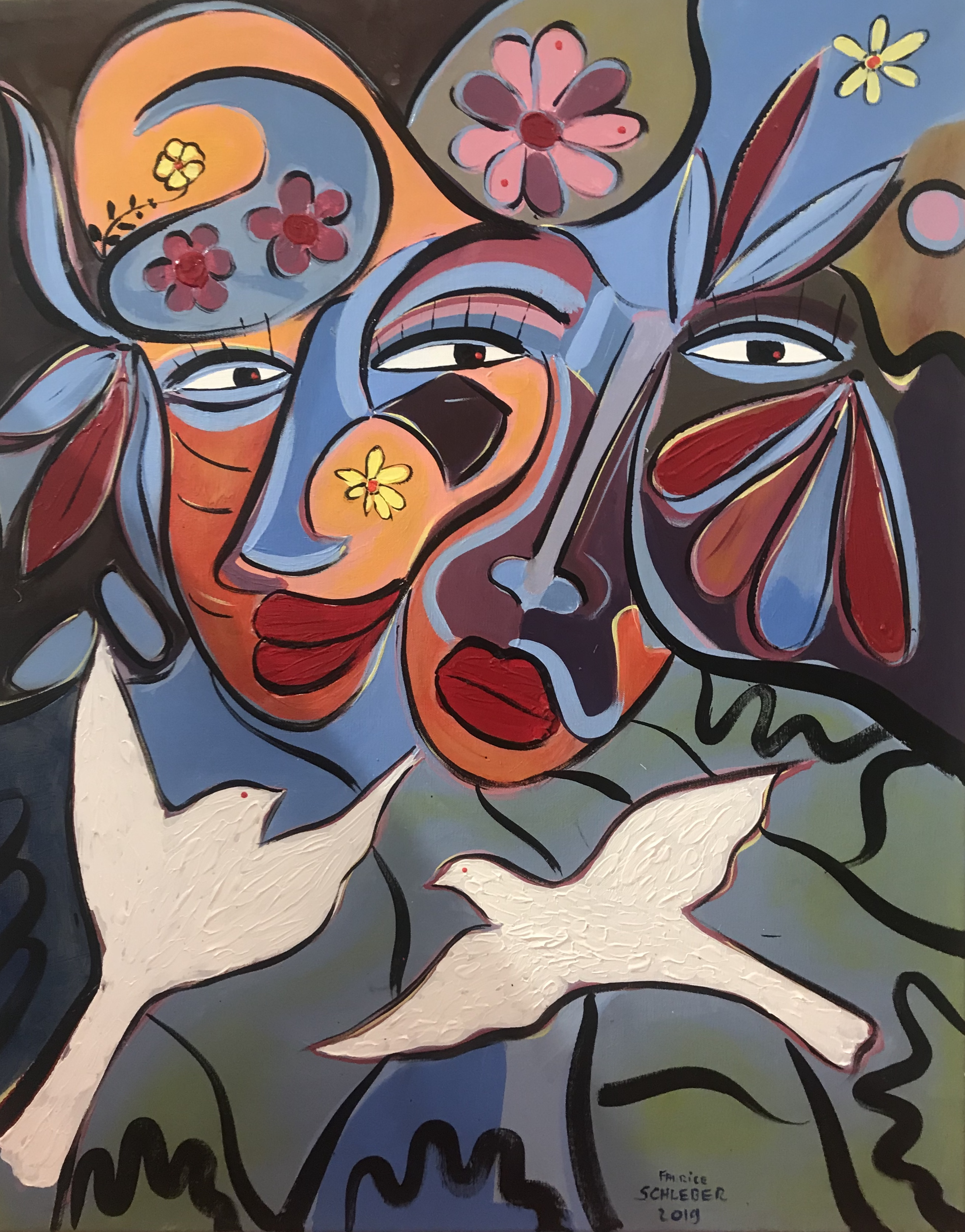 L'oiseau Blanc, 80 x 65 cm 2019