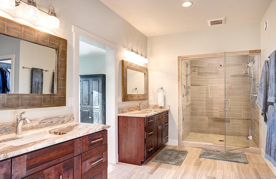 Cutsom designed maste bath - spa-like bath dual vanities