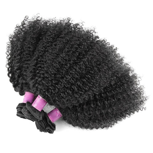 AngelHands 4A/4B 4-Bundle Afro Kinky Curly Brazilian Virgin Human Hair