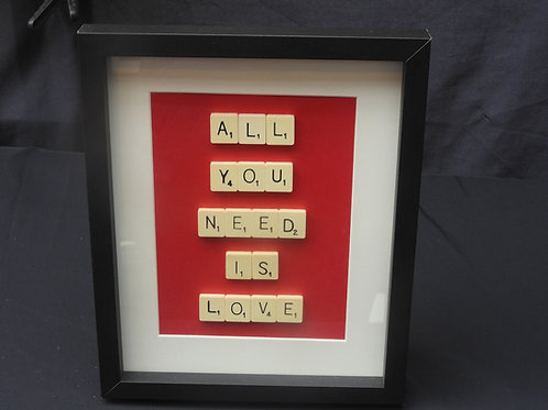 Red Vintage Scrabble Frame: All You Need is Love
