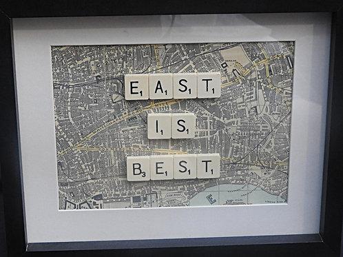 Vintage Scrabble Frame: East Is Best (Map of East London)