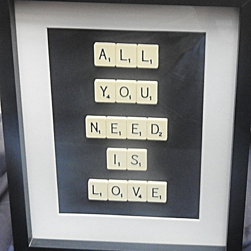 Vintage Scrabble Frame: All You Need Is Love