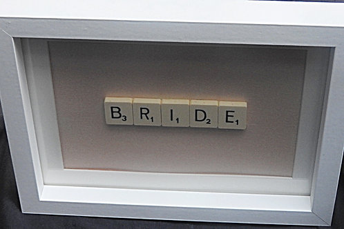 Small Vintage Scrabble Frame: Bride