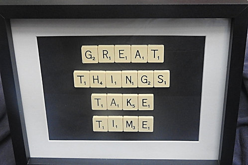 Vintage Scrabble Frame: Great Things Take Time