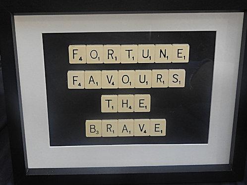 Vintage Scrabble Frame: Fortune Favours the Brave