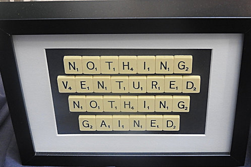 Vintage Scrabble Frame: Nothing Ventured Nothing Gained