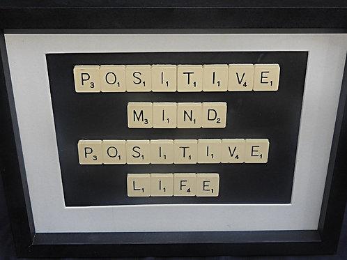Vintage Scrabble Frame: Positive Mind Positive Life