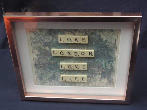 Large Gold Vintage Scrabble Frame: Love London Love Life