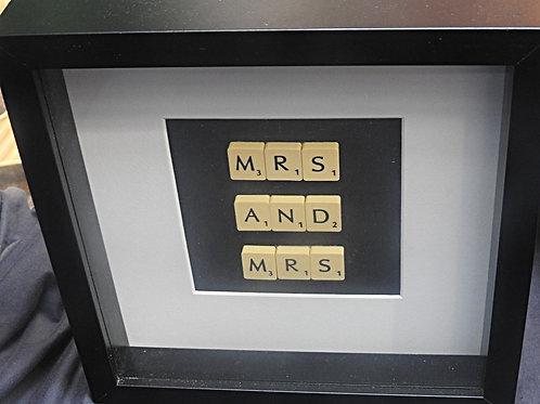 Large Vintage Scrabble Frame: Mrs and Mrs