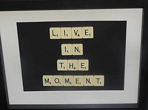Vintage Scrabble Frame: Live in the Moment