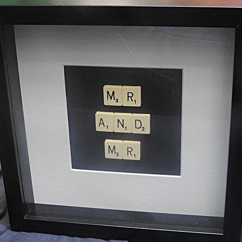 Large Vintage Scrabble Frame: Mr and Mr