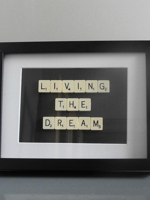 Vintage Scrabble Frame.  Living The Dream