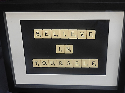 Vintage Scrabble Frame: Believe In Yourself