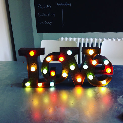 Rustic Circus LED Love Coloured Lights