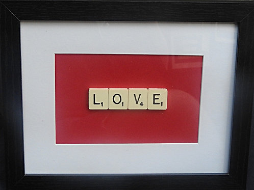 Small Vintage Scrabble Frame: Love