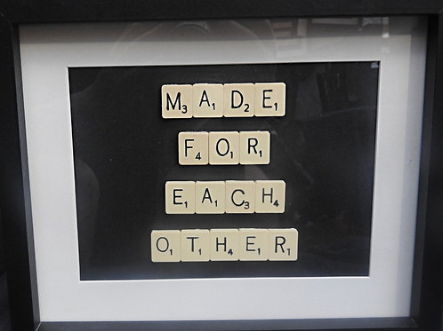 Vintage Scrabble Frame: Made For Each Other