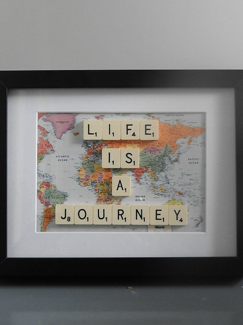 Vintage Scrabble Frame. Life Is A Journey!