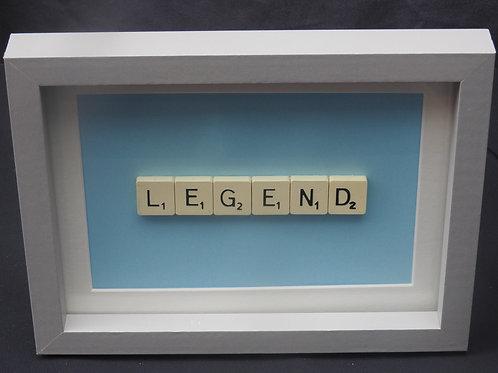 Small Blue Vintage Scrabble Frame: Legend