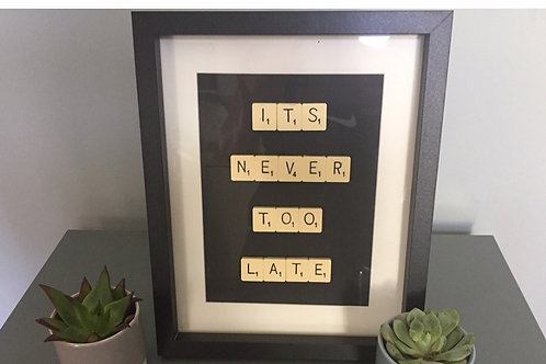 Vintage Scrabble Frame. It's Never Too Late