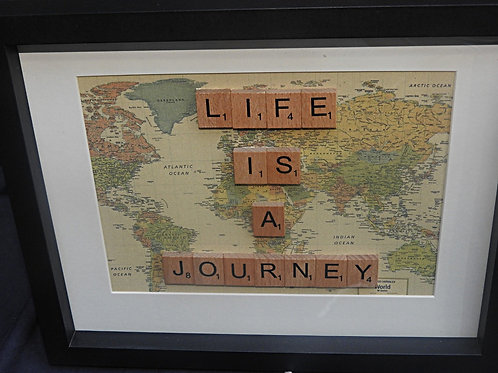 Vintage Scrabble Frame: Life Is A Journey (Brown World Map)