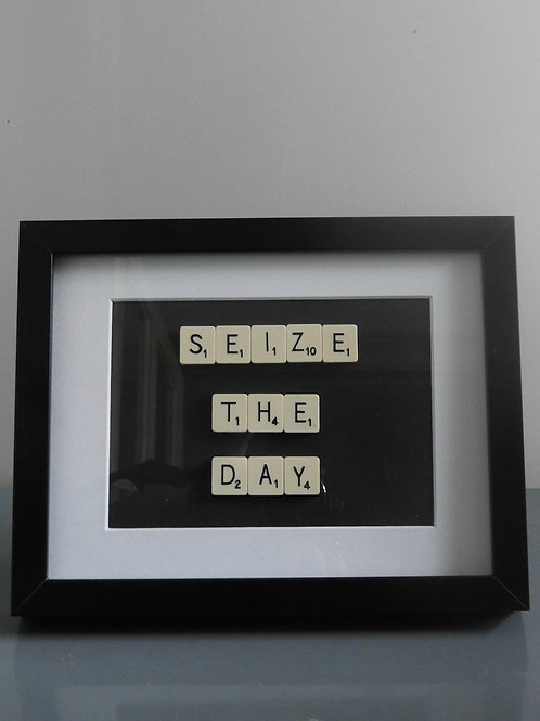 Vintage Scrabble Frame.  Seize The Day