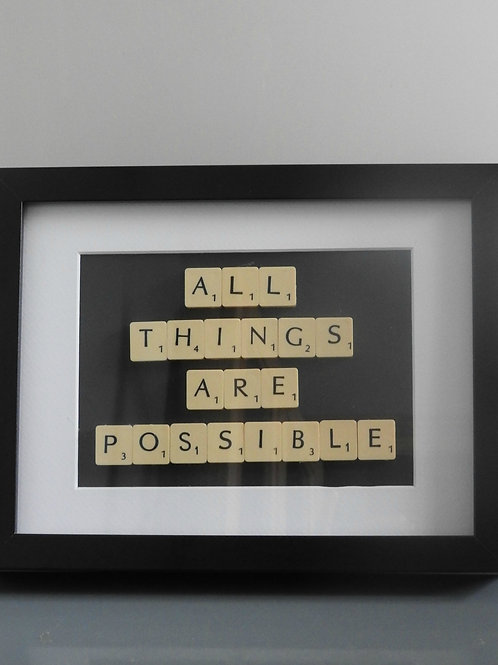 Vintage Scrabble Frame.  All Things Are Possible