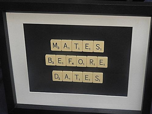 Vintage Scrabble Frame: Mates Before Dates