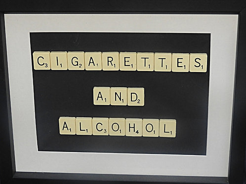 Vintage Scrabble Frame: Cigarettes and Alcohol