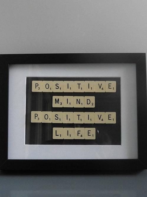 Vintage Scrabble Frame.   Positive Mind