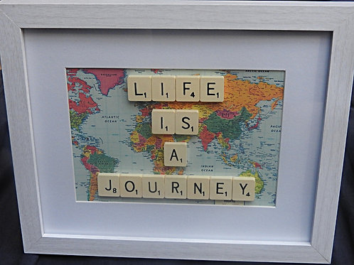 Vintage Scrabble Frame: Life Is A Journey World Map