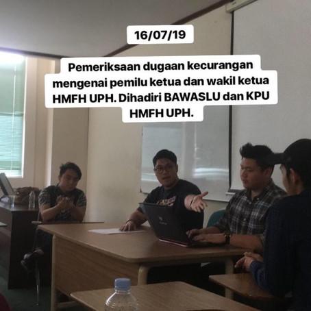 Sidang Penyelesaian Pelanggaran Pemilu di Hari Terakhir Pemilu Ketua dan Wakil HMFH UPH
