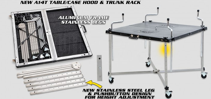 A14T - ALUMINIUM TABLE/CASE HOOD&TRUNK RACK, WITH WHEELS