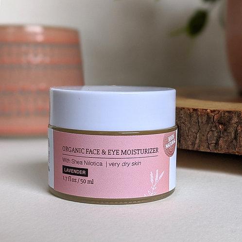 Organic Face & Eye Moisturizer - Lavender (Dry Skin)