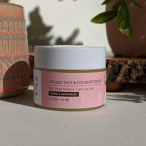 Organic Face & Eye Moisturizer - Rose Geranium (Dry Skin)