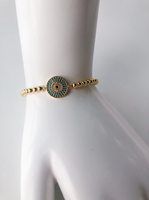 Jocelyn Kennedy Gold Beaded Circle Crystal Evil Eye Bracelet