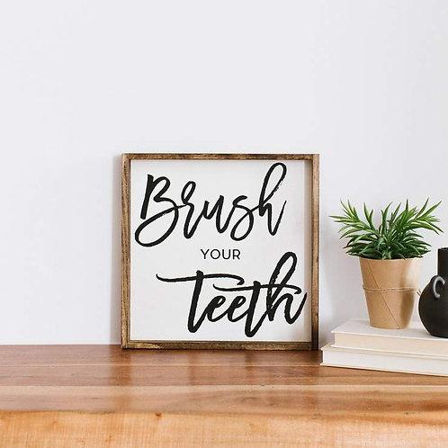 William Rae Brush Your Teeth Sign Dark Walnut Frame