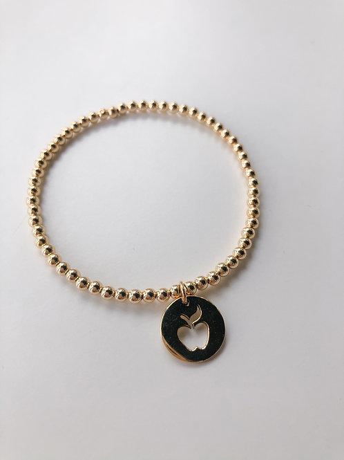 Jocelyn Kennedy Gold Beaded Charm Bracelet- Apple