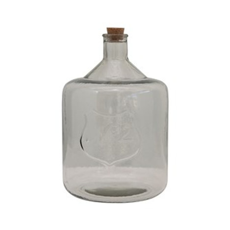 Recycled Glass Bottle With Cork and Embossed Number 2