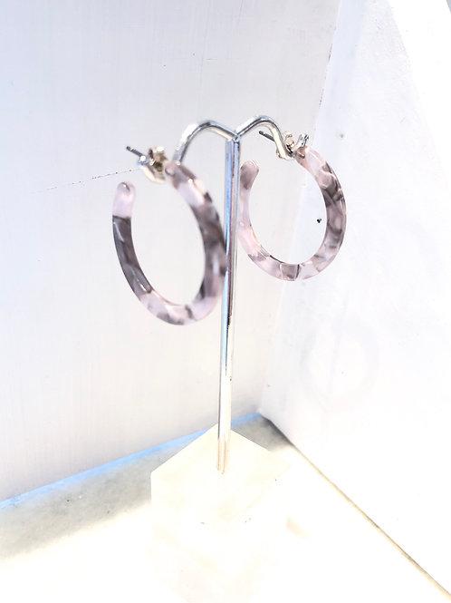 Jocelyn Kennedy Grey Acrylic Hoops- Small