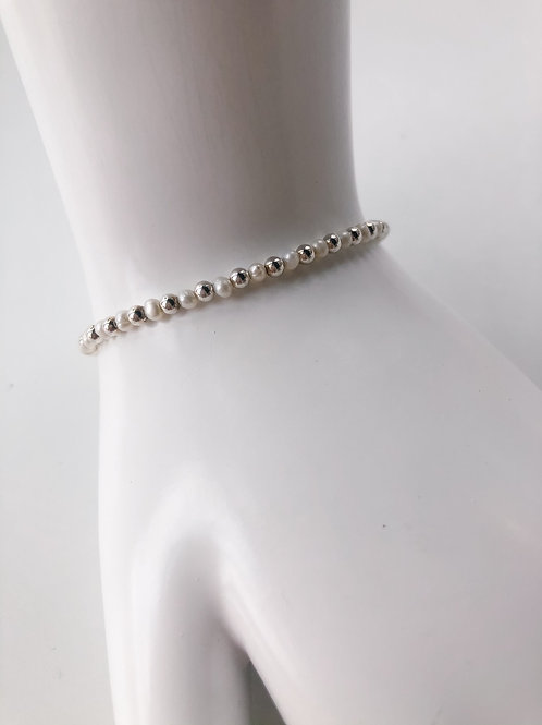 Jocelyn Kennedy Silver Beaded and Pearl Bracelet