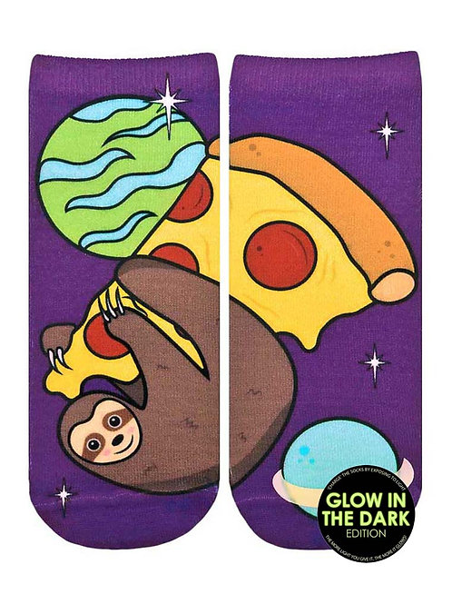 Living Royal Glow in the Dark Pizza Sloth Ankle Sock