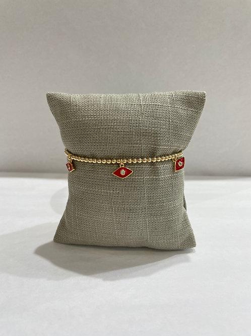 Jocelyn Kennedy Gold Enamel Bracelet: Red Charms